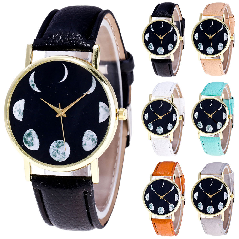 New 2019 Men Fashion Business Simple Retro Design Leather BandWatch Moon Pattern Color Male And Female Men Black Reloj Mujer