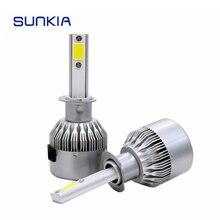 SUNKIA 2Pcs/Set Ultra Bright COB Car LED Headlight H1 C6 72W 7600LM Auto Headlamp Pure White 6000k Fog Lamp Hot Sale