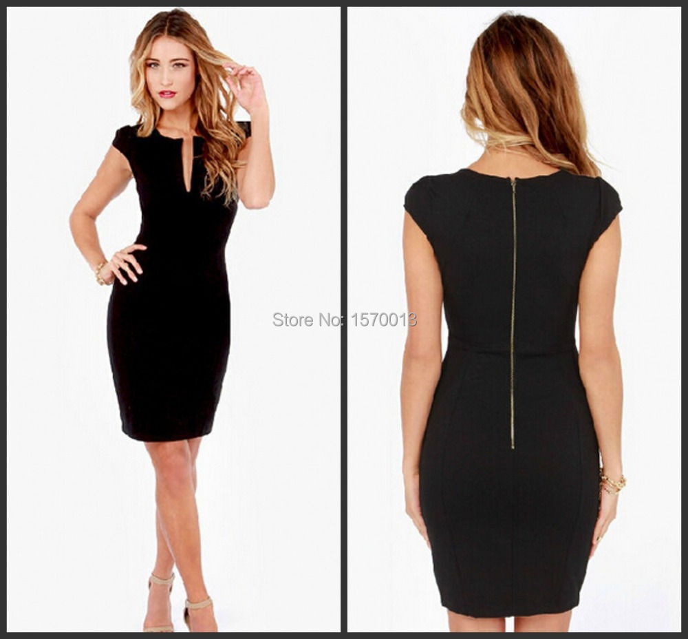 Women Sexy Black Deep V Neck Elastic Bodycon Short Sleeve Dress Party Dress  Little Black Dress Plus Size New Arrival-in Prom Dresses from Weddings    Events ... c3f1b7cb8204