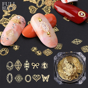 Image 1 - 3D Gold Metallic Slice Sequin Paillette Mixed Design Flower Butterfly Charms Nail Art Decoration DIY Hollow Manicure Studs CH967
