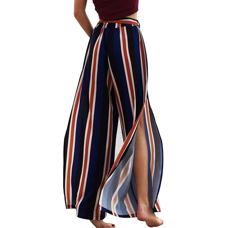 Aibo Carla Sexy High Split Wide Leg   Pants   Women Summer Beach High Waist Trousers Chic Streetwear sash casual   pants     capris   female