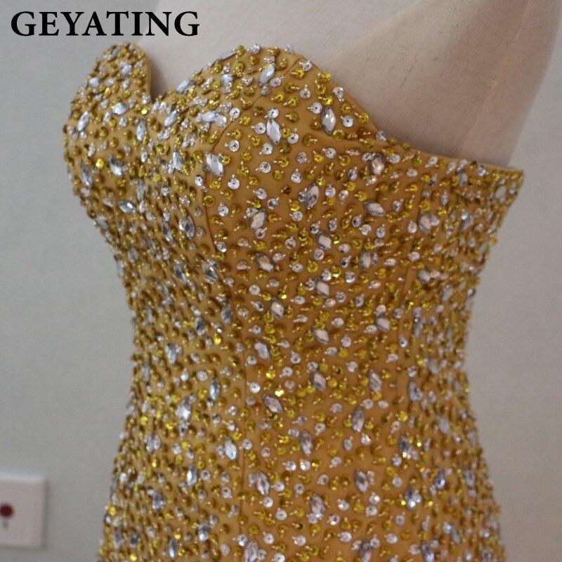 Robes de bal de sirène en or cristal perlé lourd pour les filles noires robe de soirée africaine 2019 longues robes de soirée formelles chérie - 4