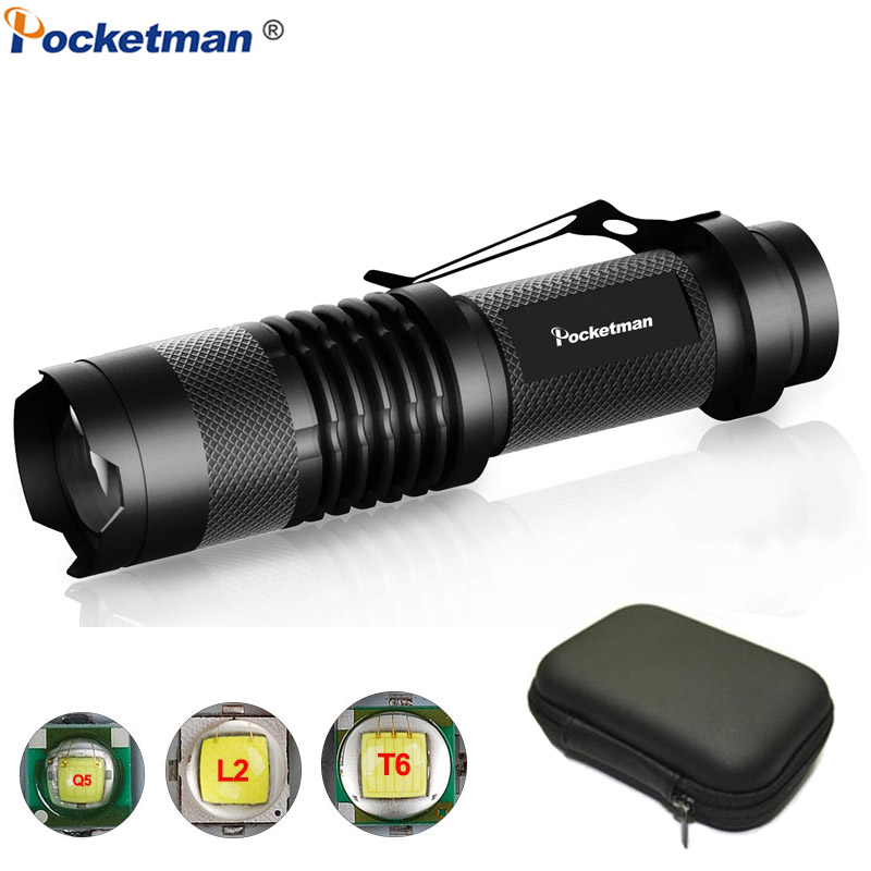 Portable Mini 8000LM LED Flashlight Zoomable Torch Q5/T6/L2 Flashlights LED Lanterna with 18650 Battery for Camping Hiking(China)