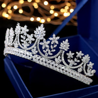 Full Zircon Tiara Copper Zircon Tiaras Micro Pave CZ Bride Crown Wedding Hair Jewelry Diadem Mariage Bijoux
