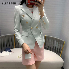 High Quality White PU Leather Jacket Blazer Women Solid Double Breasted Slim Office Lady Faux Leather Blazers Mujer Coat Female