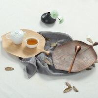 日本スタイル黒クルミ葉オリジナルデザイン木製プレートクリエイティブ木製トレイ用スナック/フルーツ/食品ホーム装