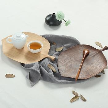 Japan Style Black Walnut Leaves Original Design Wooden Plate Creative Wood Tray for Snacks/Fruit/Food Home Decoration