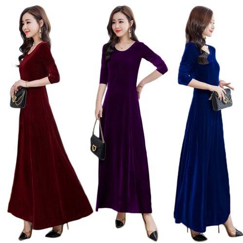 TingYiLi бархатное платье осень-зима элегантное Дамское Платье макси с длинным рукавом синее фиолетовое зеленое Черное длинное вечернее плать...