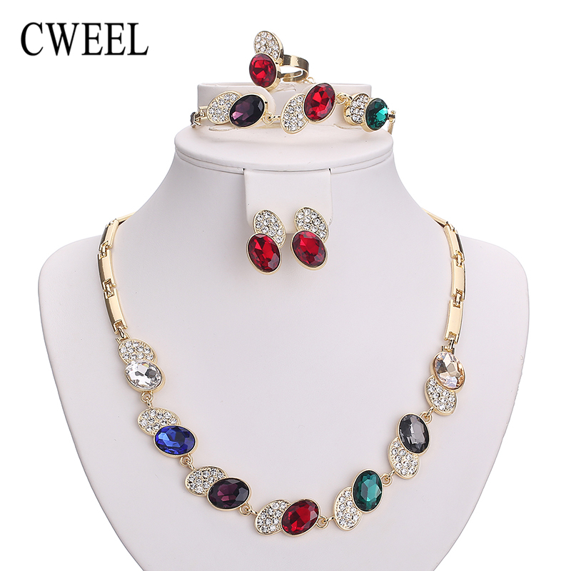 Necklace Set For Women African Beads Imitated Crystal Jewelry Sets Gold Color Pendant Earrings Bracelets Wedding Accessories chic rhinestone african plate shape pendant necklace and earrings for women