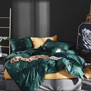 สุนัขน่ารักพิมพ์ผ้าฝ้าย 100% ชุดเครื่องนอนเตียง Queen King size แผ่นผ้านวมแผ่นติดตั้งชุด ropa de cama