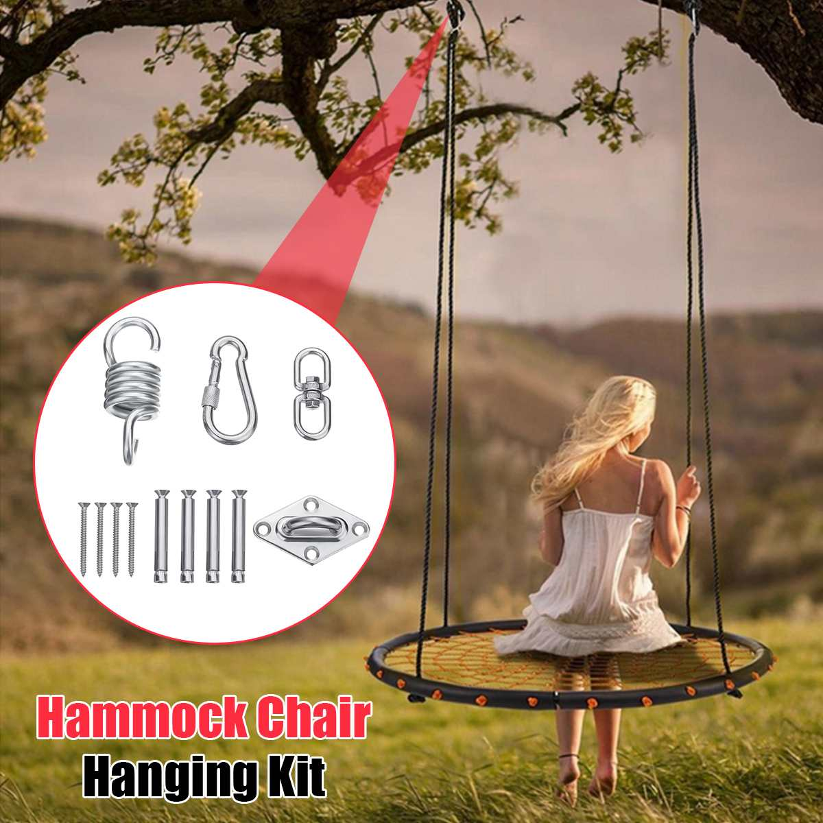 Stainless Steel Hammock Chair Swing Chair Hanging Kit Ceiling Mount Spring Swivel Snap Hook Camping Accessories Outdoor Tools