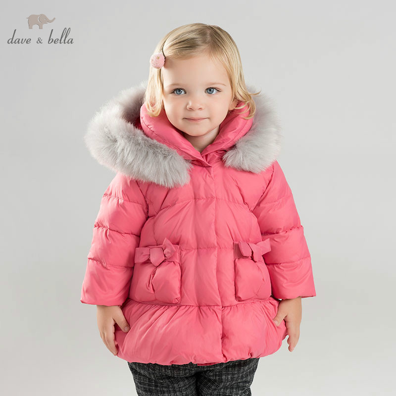 DB9628 dave bella winter baby down coat girls hooded outerwear children 90% white duck down padded coat kids with fur jacket