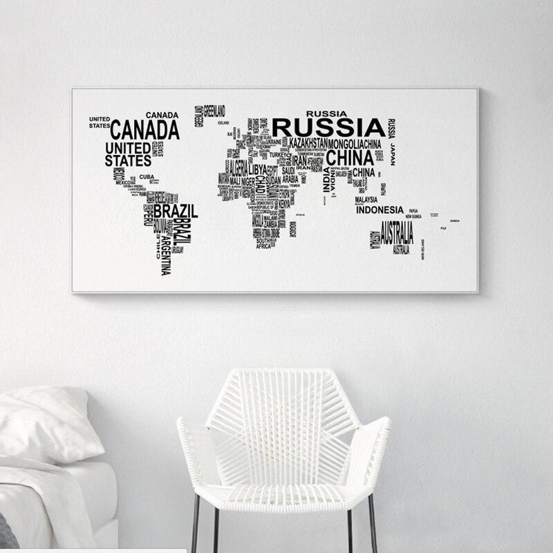 Svartvitt Världskarta Kanfastryck Brev Konst Posters Tryck Stor - Heminredning - Foto 2