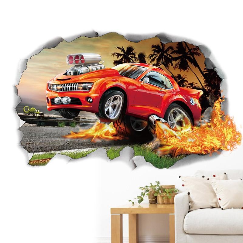 Creative 3D Fire Sport Runing Car Wall Stickers Basketball Broken Wall Art Decal Car Wall Poster Kids Room Decoration Boys Favor