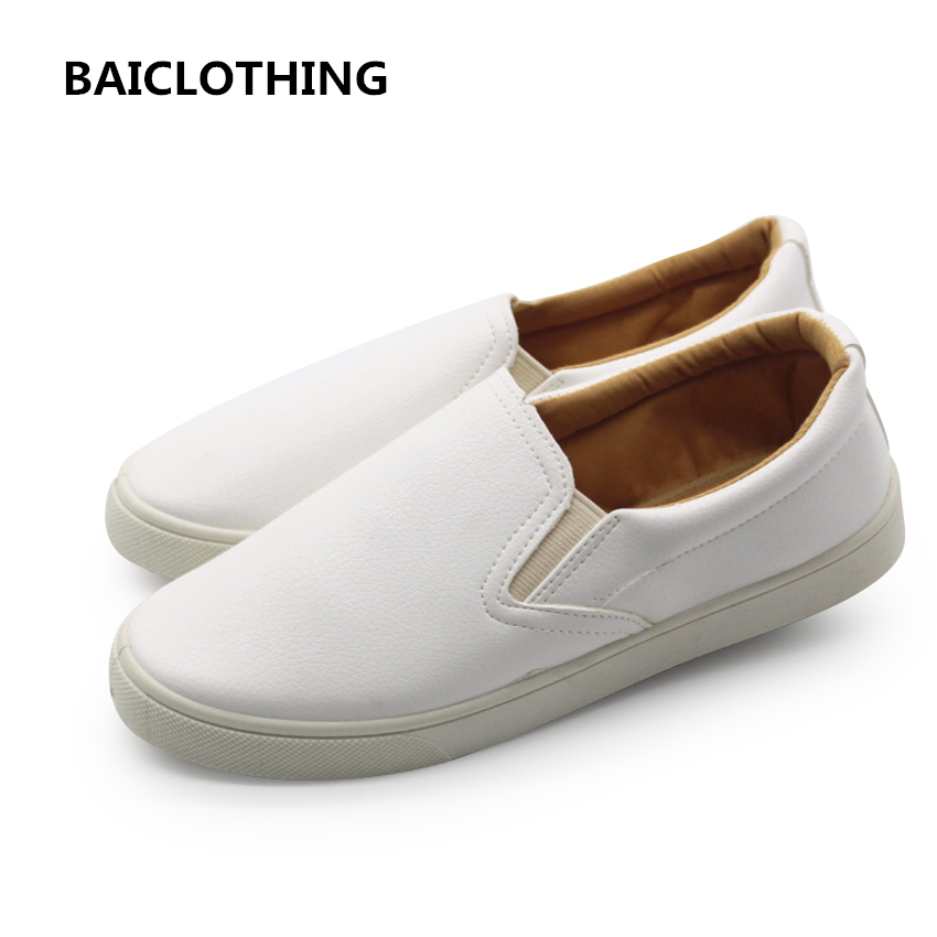 BAICLOTHING women soft comfortable white loafers lady casual anti skid patent leather flat shoes student school cool shoes