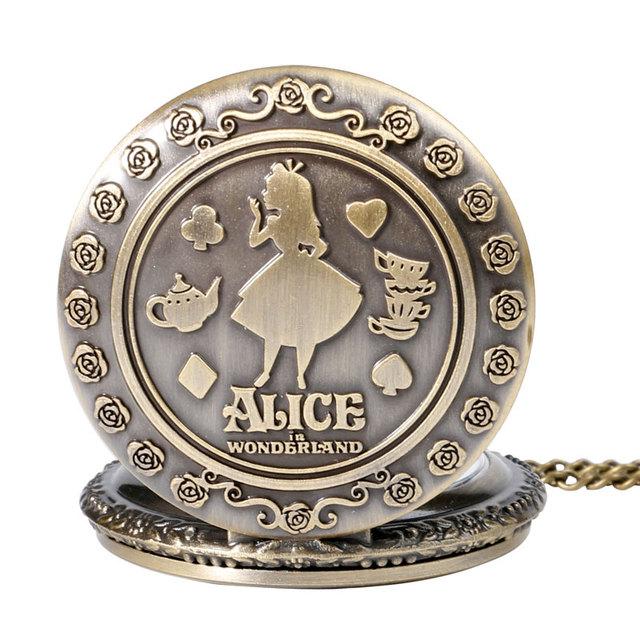Vintage Copper Pocket Watch Alice in Wonderland Cut Pattern Fashion Modern Flower Retro Necklace Women Kids Birthday Xmas Gifts
