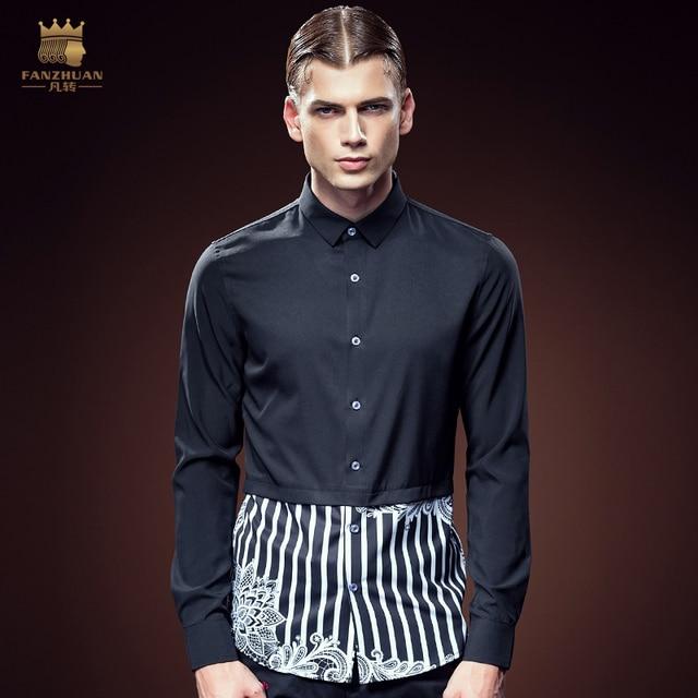 Free Shipping New arrivals 2016 man's male fashion casual printing stripe stitching slim DP Long Sleeve Shirt 2108 man FanZhuan