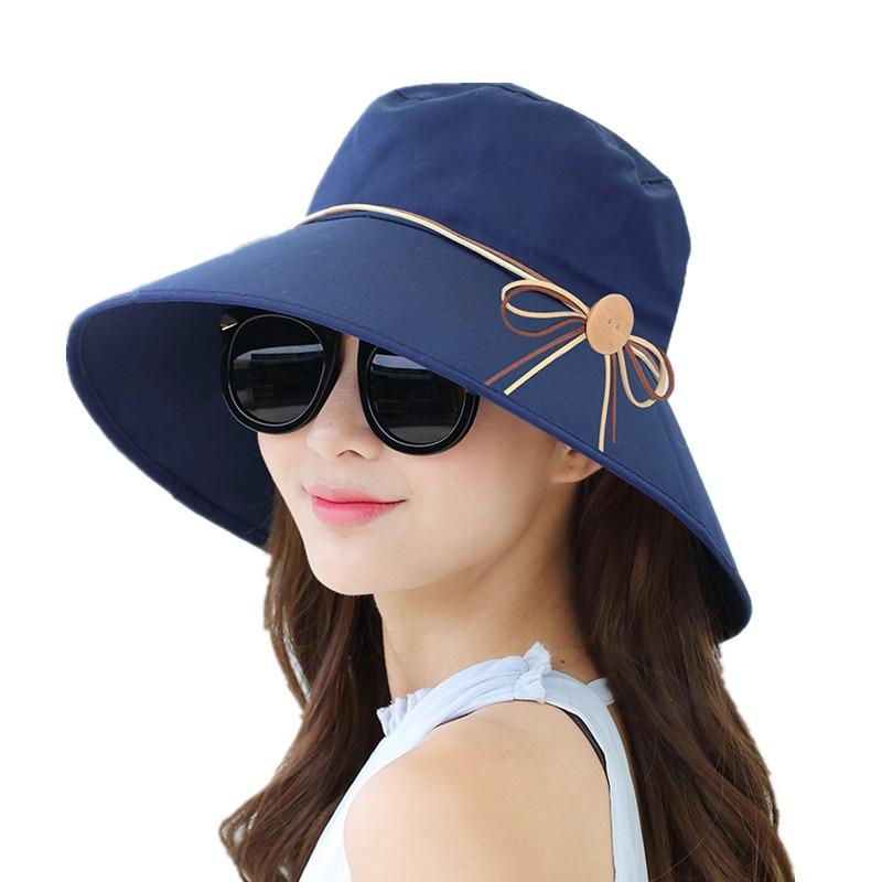 2019 New Simple Women Summer Beach Travel Bowknot Wide Brim Sun Hat Reversible Foldable Cap Girls Hat