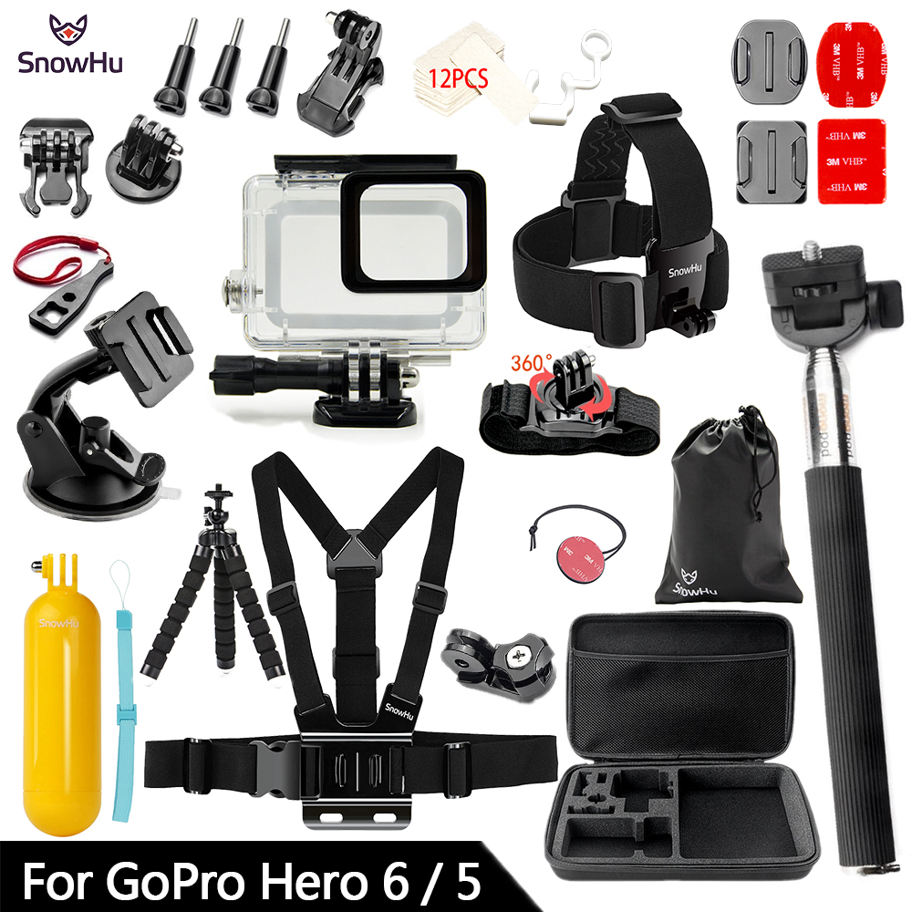 SnowHu for Gopro Accessories Set For Gopro hero 7 6 5 Waterproof case Protection Frame monopod for Go pro 7 6 gopro 5 GS73 45m waterproof case mount protective housing cover for gopro hero 5 black edition