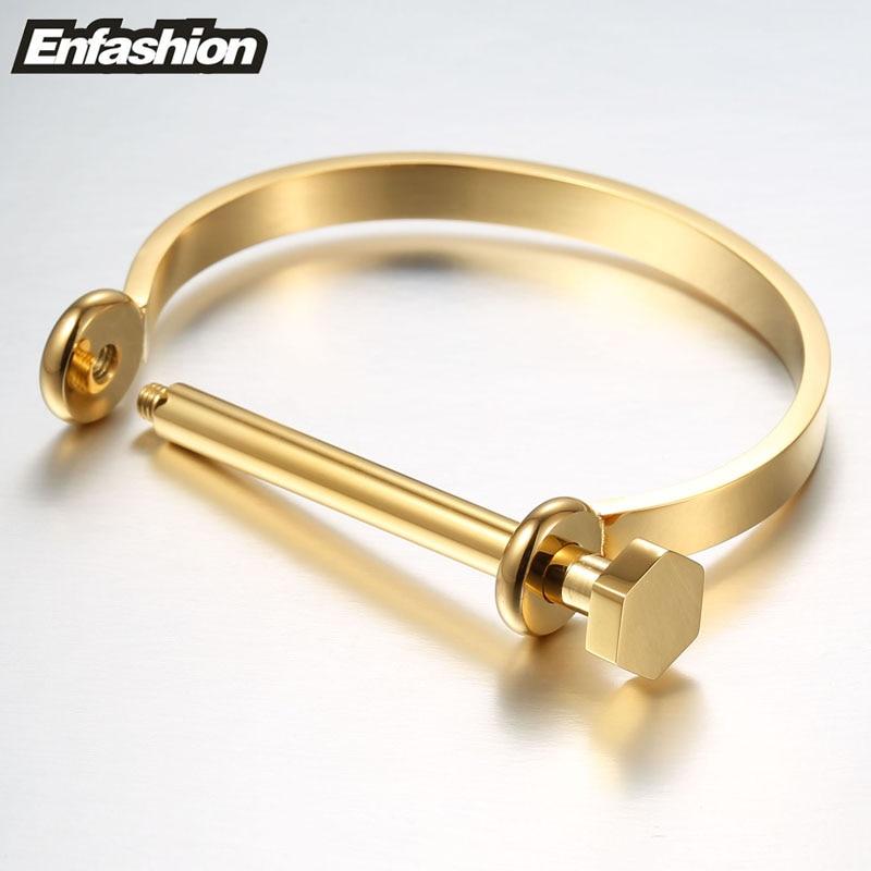 Enfashion Shackle U Cuff Bracelet Noeud armband Gold Color Screw