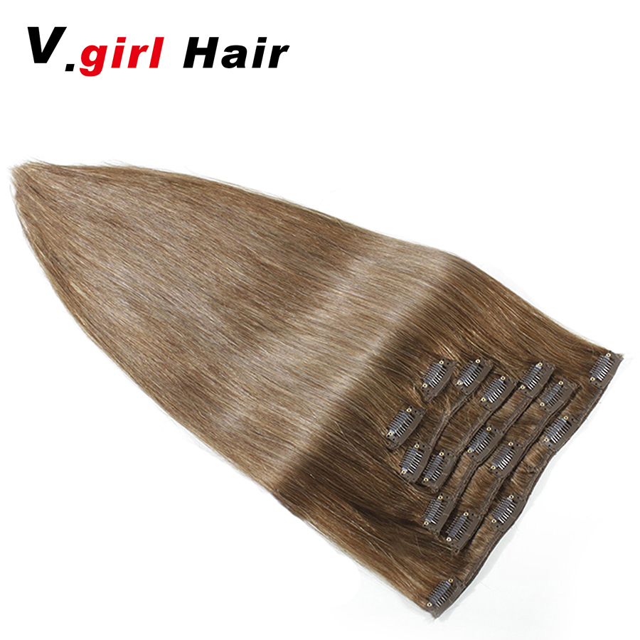 Hot Sale Machine Made Remy Straight Clip In Brazilian Human Hair