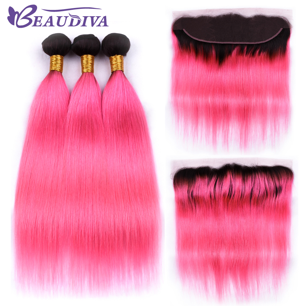 Straight Human Hair Bundles With Lace Frontals T1b Pink Color For Hair Salon High Ratio Longest Hair PCT 15% Free Part