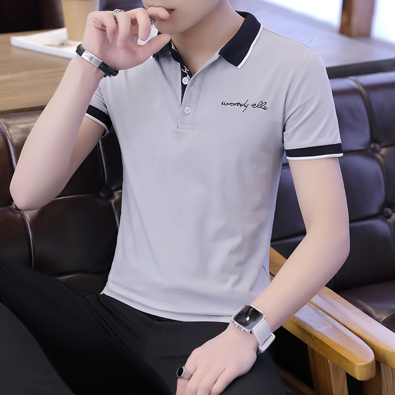 2019 men splicing t-shirts with short sleeves Comfortable in summer youth leisure lapel t-shirts 3