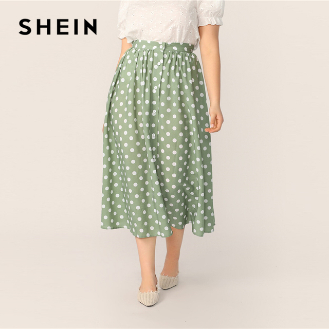 SHEIN Plus Size Green Polka Dot Button Up A Line Skirt 2019 Women Spring Summer Casual Elegant Long Loose Officewear Skirts