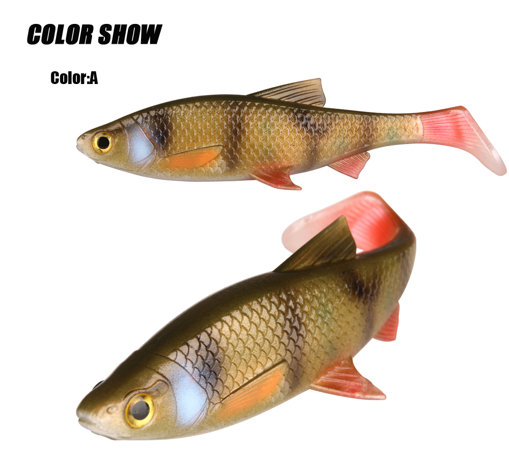 RoseWood 5g 10g 20g 40g 3D Soft bait fishing lure Silicone Shad plastic lures Roach Paddle Tail 3D scanned Lively kicking action  (5)