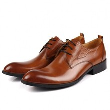 цена на New High Quality Men's Shoes Business Dress Shoes Male Spring Autumn Genuine Leather Shoes Lace Up Formal Footwear JS-A0051