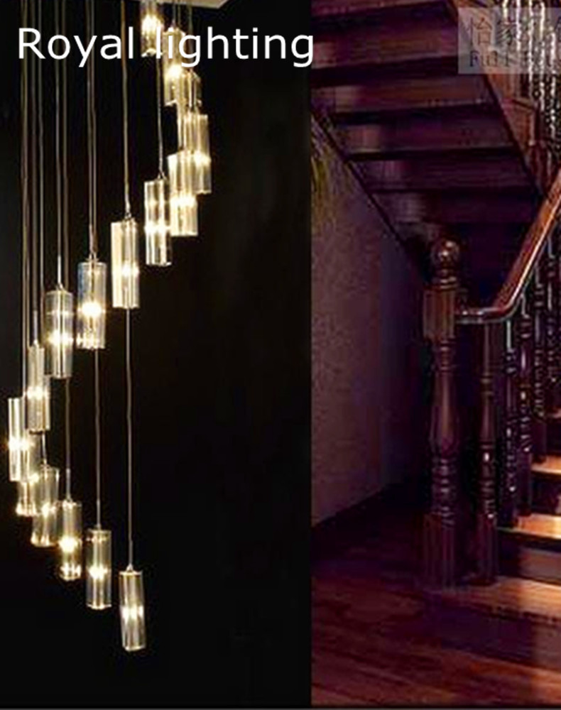 Spiral staircase Led chandelier lighting long stairway ...