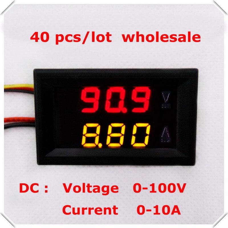 0 28 Digital Ammeter Voltmeter DC 0 100V 10A 5 wire voltage current meter LED Display