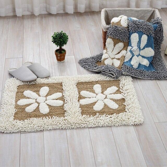 Beautiful Cotton Chenille Shaggy Rug Handmade Soft Doormat Kids Children Rug Floral  Home Decorative Kitchen Bathroom Living