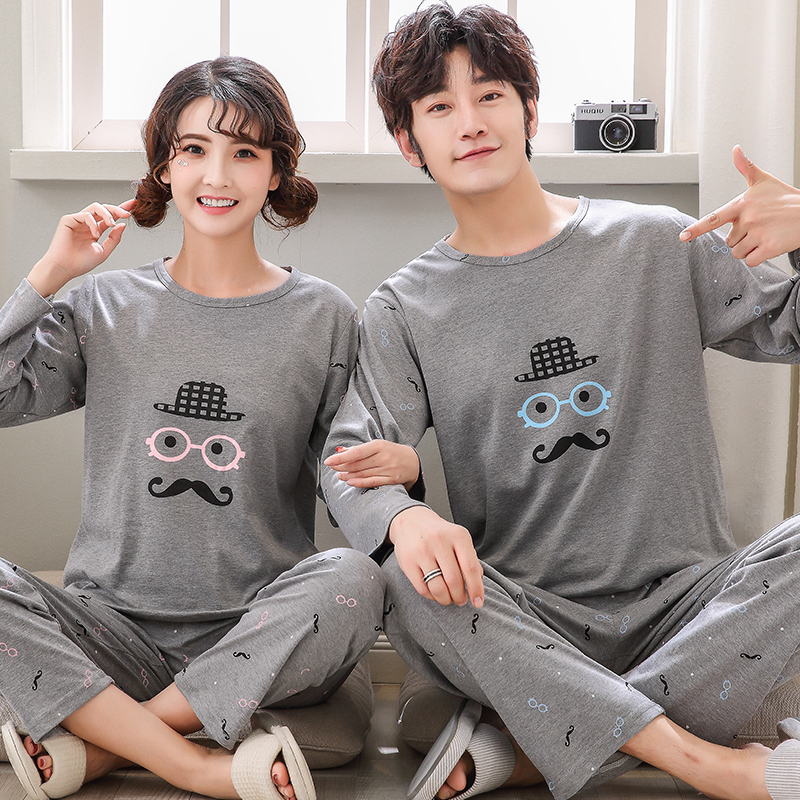 Autumn Cartton Pyjamas Cotton Couple Pajamas Set Women Sleepwear Pajama Sets Man Pijamas Mujer Lover Pyjamas Plus Size Clothing