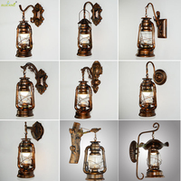 Blueking Antique E27 Bulb Copper Vintage Lantern Wall Lamp Personalized Kerosene Lamp Fashion Iron Wall Lights