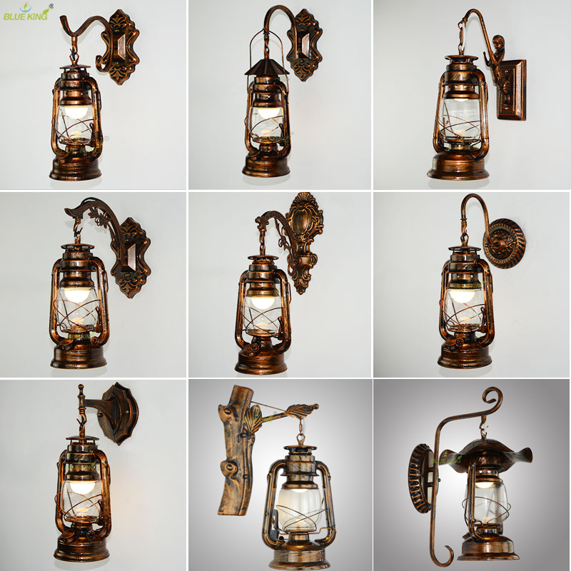 Retro Vintage Kerosene wall lamp bedroom bedside wall sconce Wrought Iron glass restaurant bar aisle light fixture clear glass cover outdoor retro wall light metal frame glass wall lamp lighting fixture aisle wall sconce