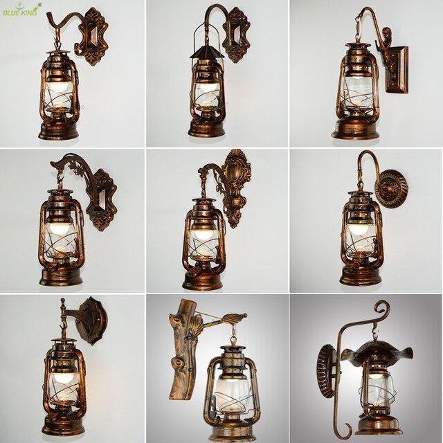 Retro Vintage Kerosene wall lamp bedroom bedside wall sconce Wrought Iron glass restaurant bar aisle light fixture
