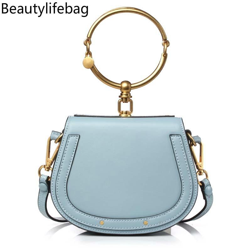 PISIDIA 2019 Luxury Women Bag Brand Shoulder Bag Half Moon Handbag Fashion Crossbody Bag Genuine Leather Purse Ring Ladies Bag handbag