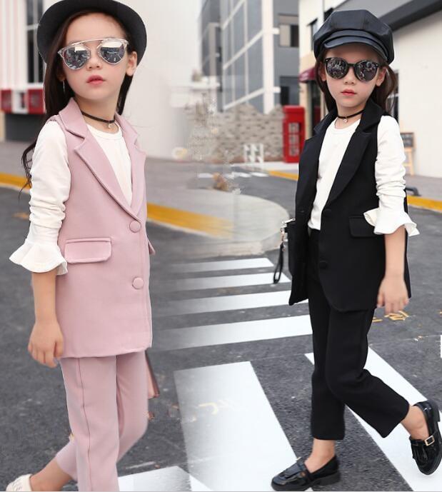 2018 autumn children's clothes girls suits slim sleeveless cotton baby girl formal suits for girls bid kids sets vest+pants 2pcs bid for world power