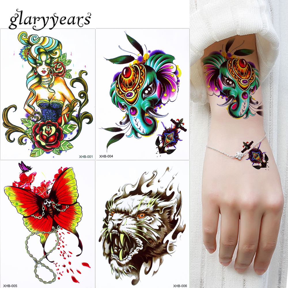 6 Sheets Wrist Body Art Henna Tattoo Stencil Flower: Glaryyears 8 Designs 1 Sheet Candy Fluorescence Body