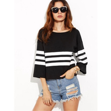 Spring 2017 Style Three Quarter Black Striped Shirt Chinese language Clothes Retailer Robes Girls Blouses Giant Measurement Tunics High Peplum