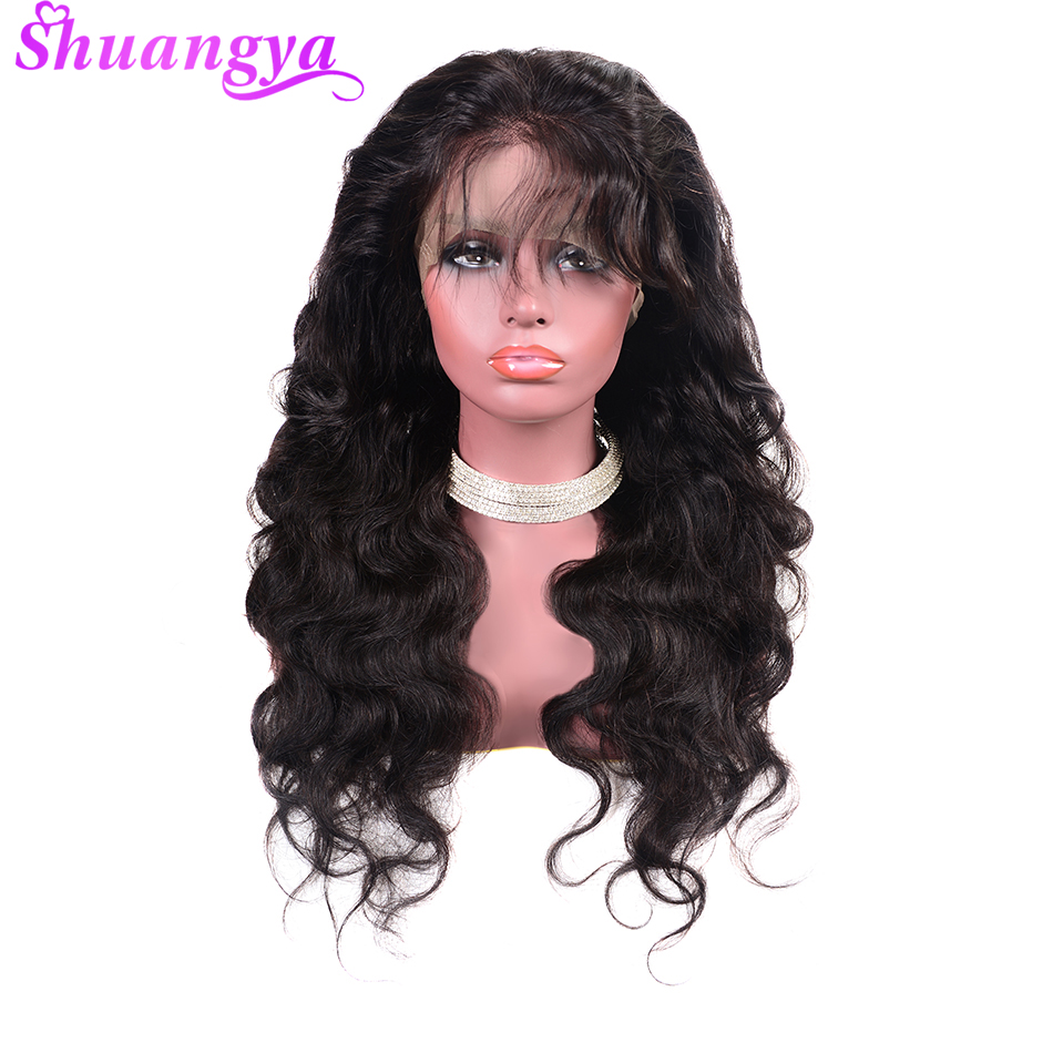 Shuangya Brazilian Remy Hair Wigs 150 Density 360 Lace Frontal Wig Pre Plucked With Baby Hair