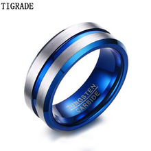 Tigrade Tungsten Carbide Ring For Men Women Unisex Matte Finished Wedding Bands Blue Silver Carbon Fiber Groove Rings Jewelry