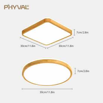 Wooden LED Ceiling Lamp Round Square 7cm Surface Mounted Ceiling Light modern Living Room Bedroom Kitchen Ceiling Hotel Lighting