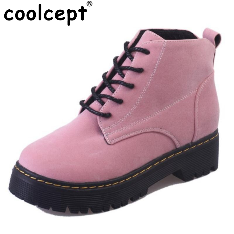 Coolcept Size 35-40 Fashion Winter Shoes Women Warm Plush Inside Ankle Snow Boots For Women Cross Tied Thick Platform Botas tuan hue thi learning structured data for human action analysis