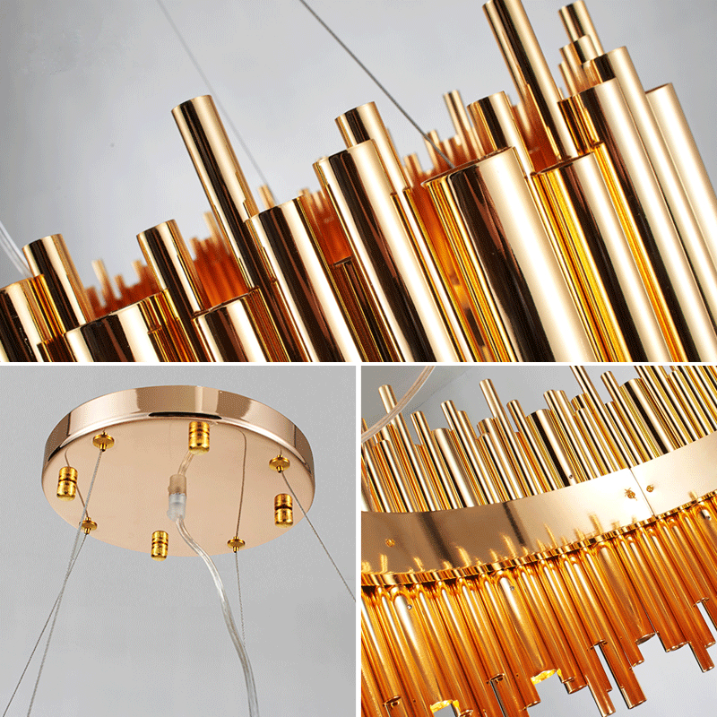 Italy Design Brubeck Gold Aluminum Alloy Tube Pendant Light