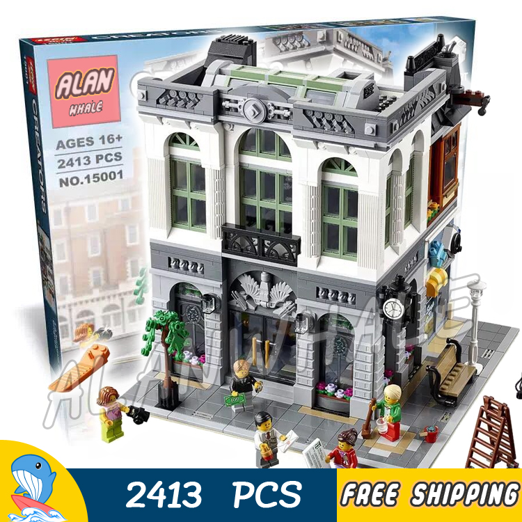 2413pcs Creator Expert Brick Bank Office Plaza Construction 15001 Model Modular Building Blocks Toys Bricks Compatible With Lego