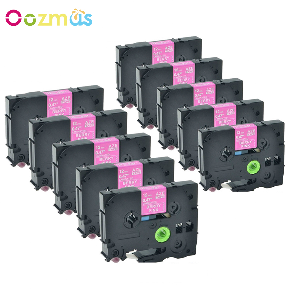 Oozmas 10pcs/ Pack TZE MQP35 12mm Compatible Brother P-Touch Label Tape TZ TZe MQP35 White on Berry Pink Printer Ribbons 10rolls compatible dk 22205 label 62mm 30 48m continuous compatible for brother printer ql 570 700 all come with plastic holder