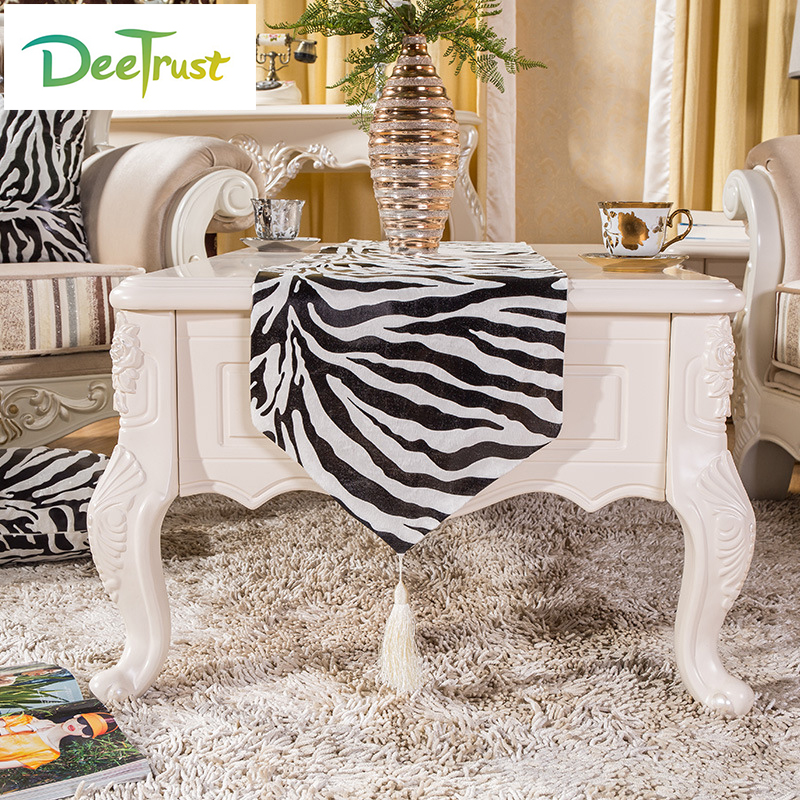 Polyester Animal Zebra Striped Printed Fashion Table Runners Luxury  Tablecloth Wedding Table Cover Wedding Decoration Home Deco