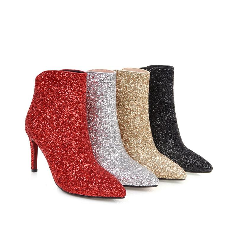 D'hiver Femme Pointu 43 Femelle Noir or Hauts Talons rouge 2018 Mariage Chaussures argent De Orteil Wetkiss Sexy 34 Cheville Bottes Bling Glissière w6qSXTA